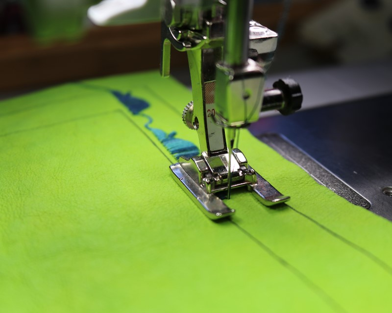 Stitch design on kraft-tex