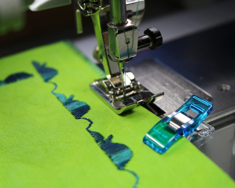Layer and stitch with wide zig-zag