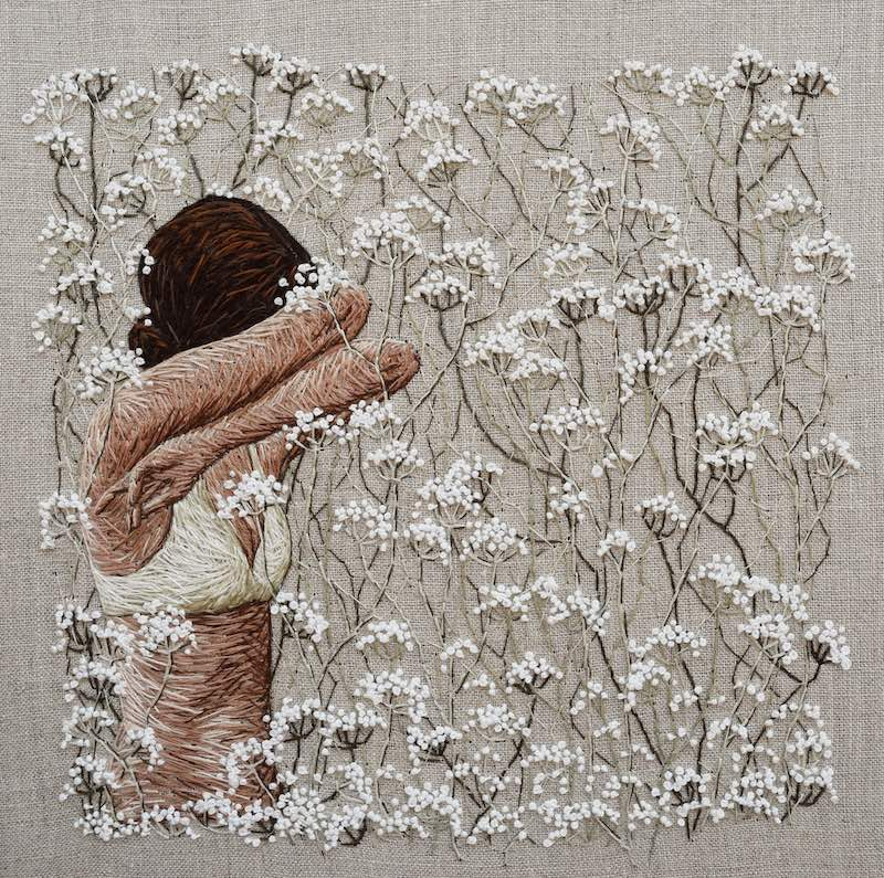 Even Now . . . Even Sleeping embroidery art