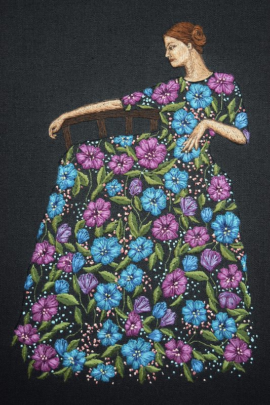 Primavera embroidery art by Michelle Kingdom