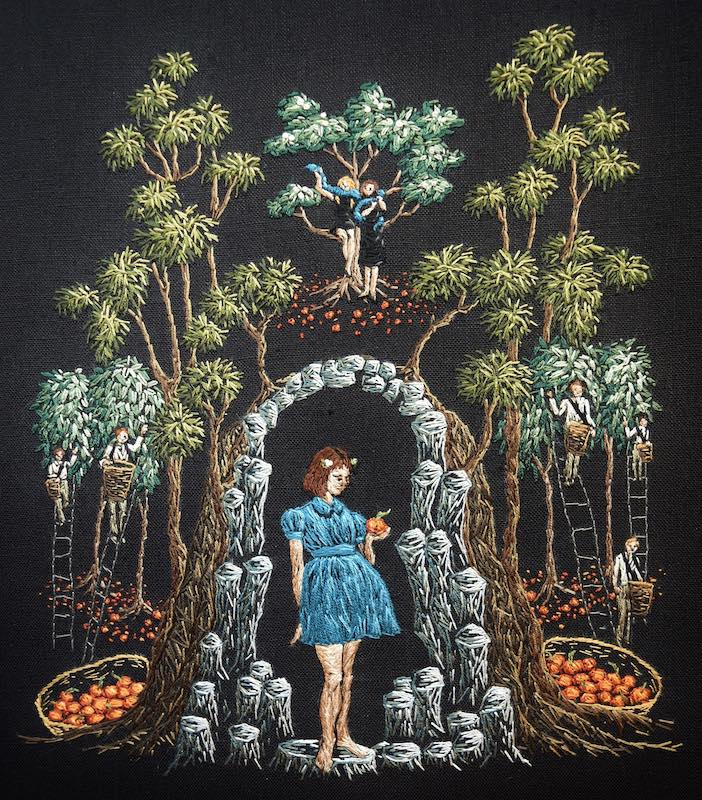 The Granting of Wishes embroidery art by Michelle Kingdom