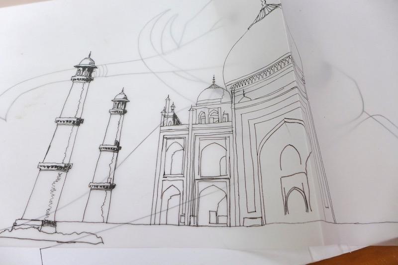 Drawing in progress of the Taj Mahal