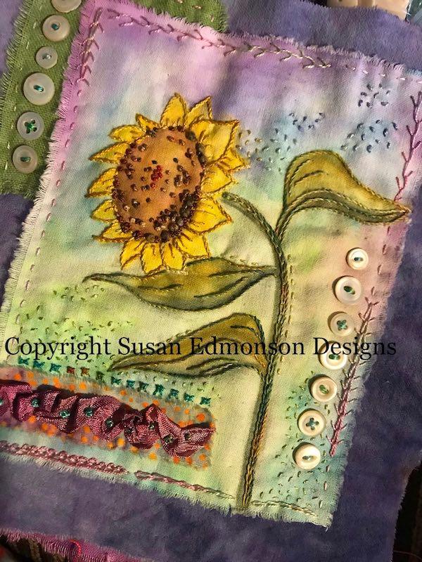 Doodle Blooms fabric art book