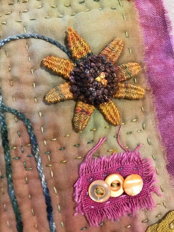 Detail of sunflower stumpwork