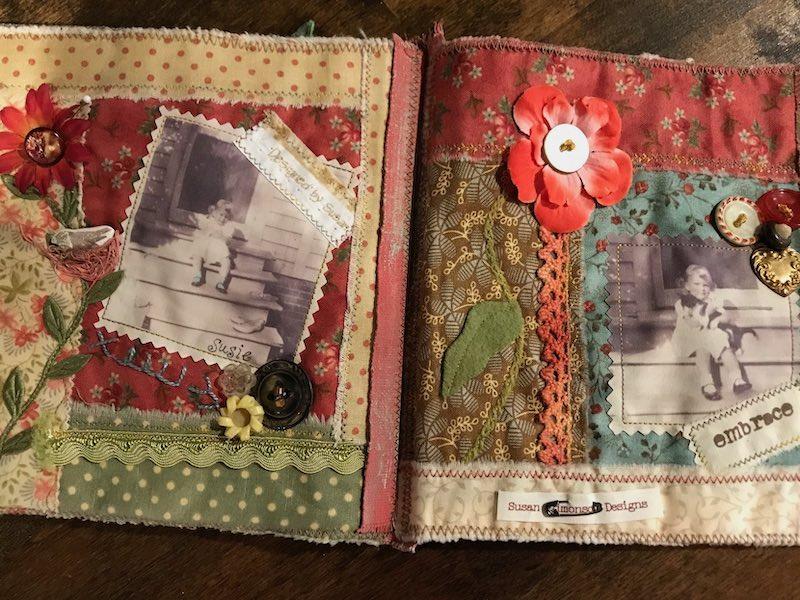 Fabric books with vintage photos by Susan Edmonson