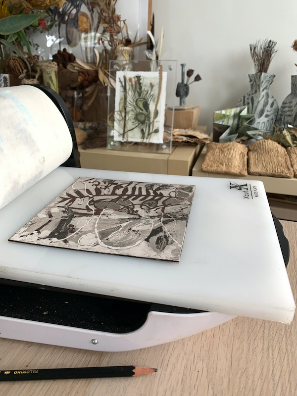 Tara using her Xact Press for Collagraph printing