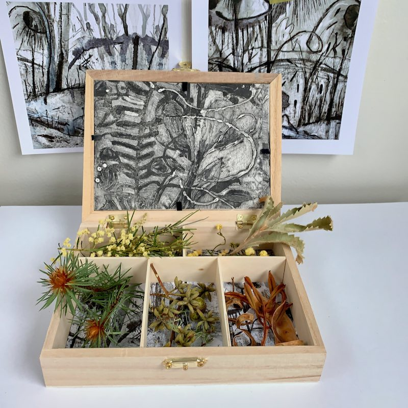 Illustration in a box collecting thistles and seed pods