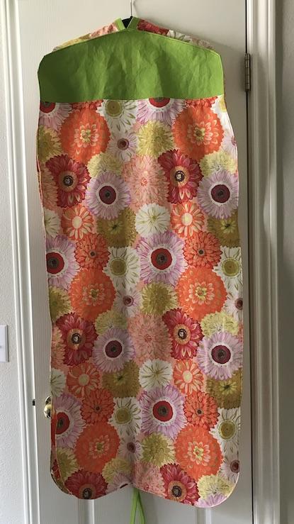 Back of finished garment bag