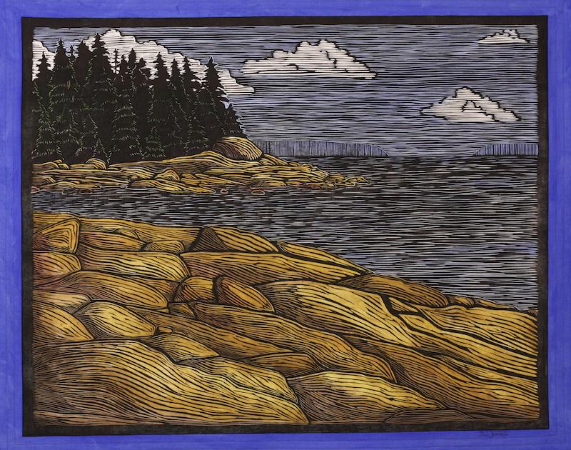 Maine Rocks fiber art by Jill Jensen