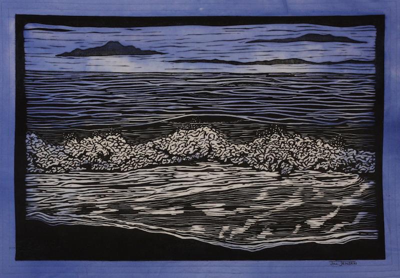 Ocean Waves fiber art by Jill Jensen