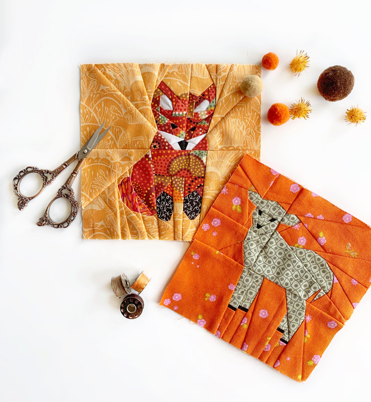 Paper pieced fox and sheep