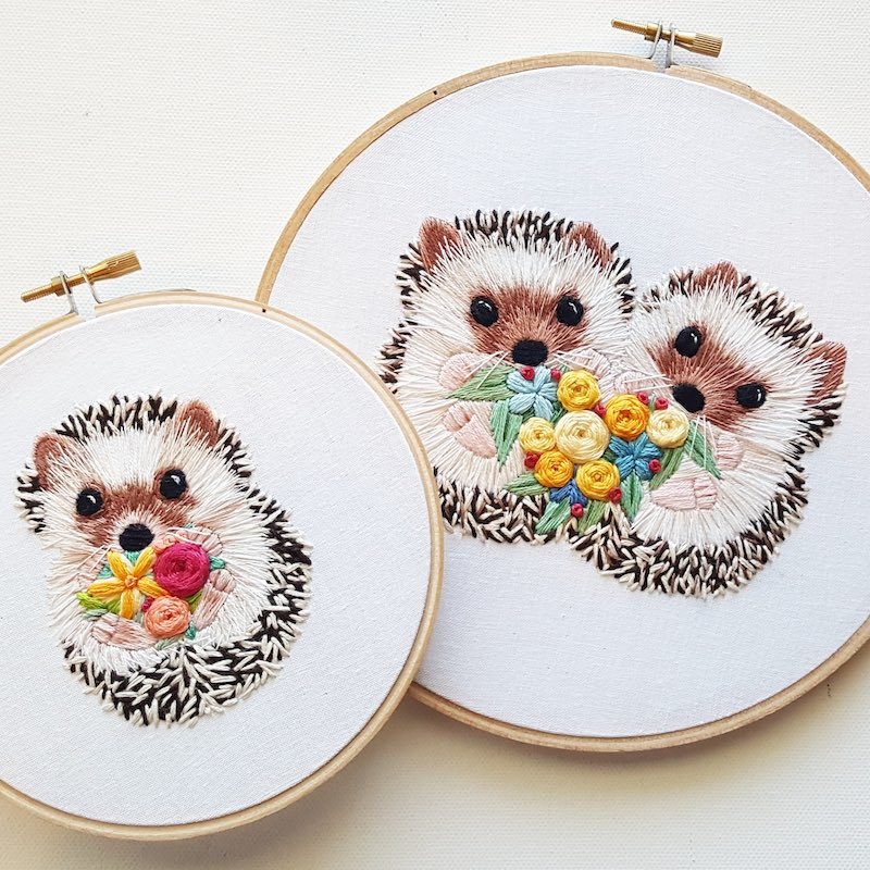 Cute porcupine embroidery art