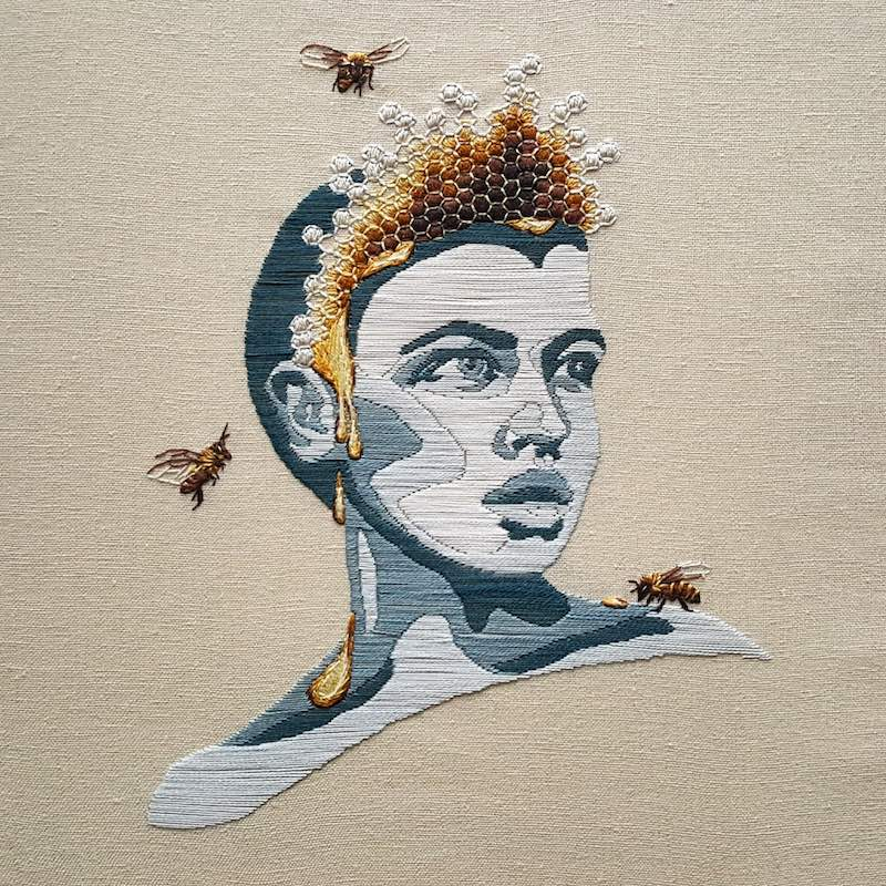 Embroidery art of a bee queen portrait