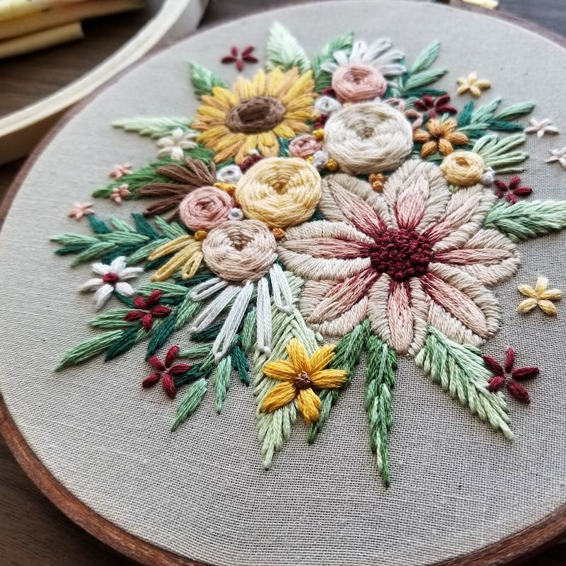 Stumpwork embroidery flowers