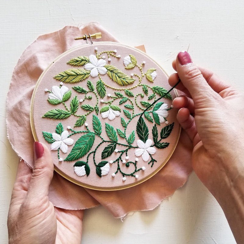 Botanical embroidery by Jessica Long