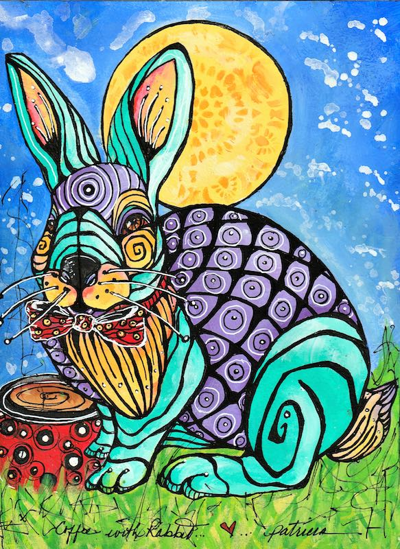 Rabbit and the moon painting