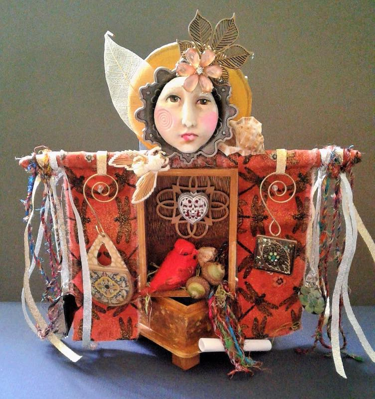 Art doll with Cardinal by Patricia Mosca