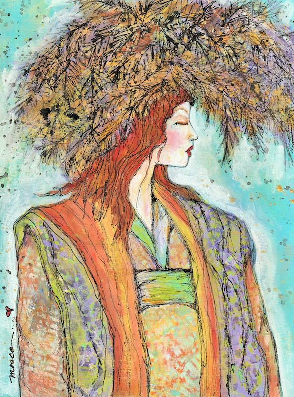 Woman in a fur hat painting