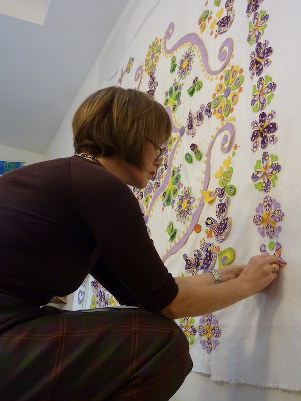 Philippa working on composing a quilt