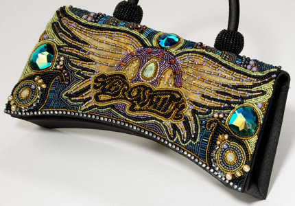 Close up of Aerosmith beaded bag