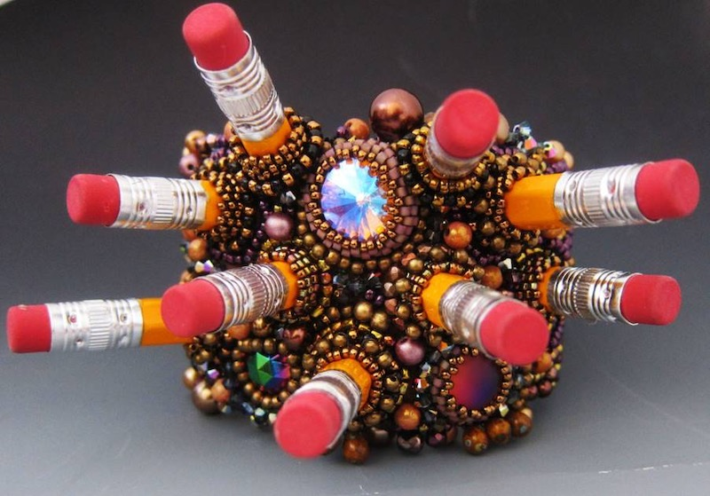 Pencil pieces and beaded cuff