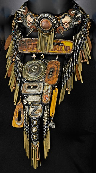 Beaded collage necklace with fringe