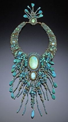 Turquoise beaded and fringed necklace