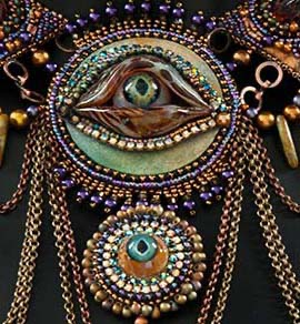 Close up of the monster eye necklace