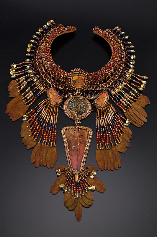 Rust colored fringed necklace