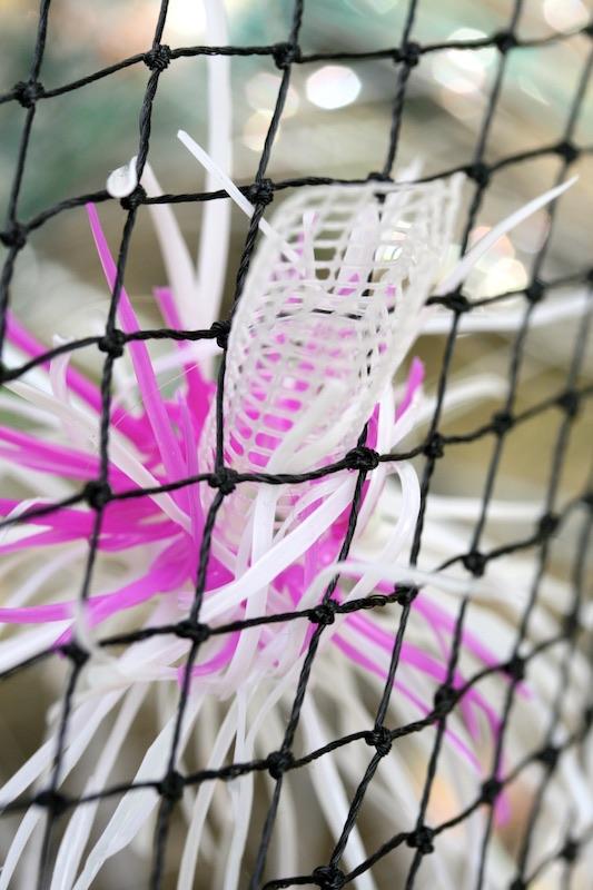 Close up of art using reclaimed plastic