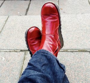 Sue's red boots