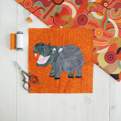 Hilda the Hippo paper pieced block