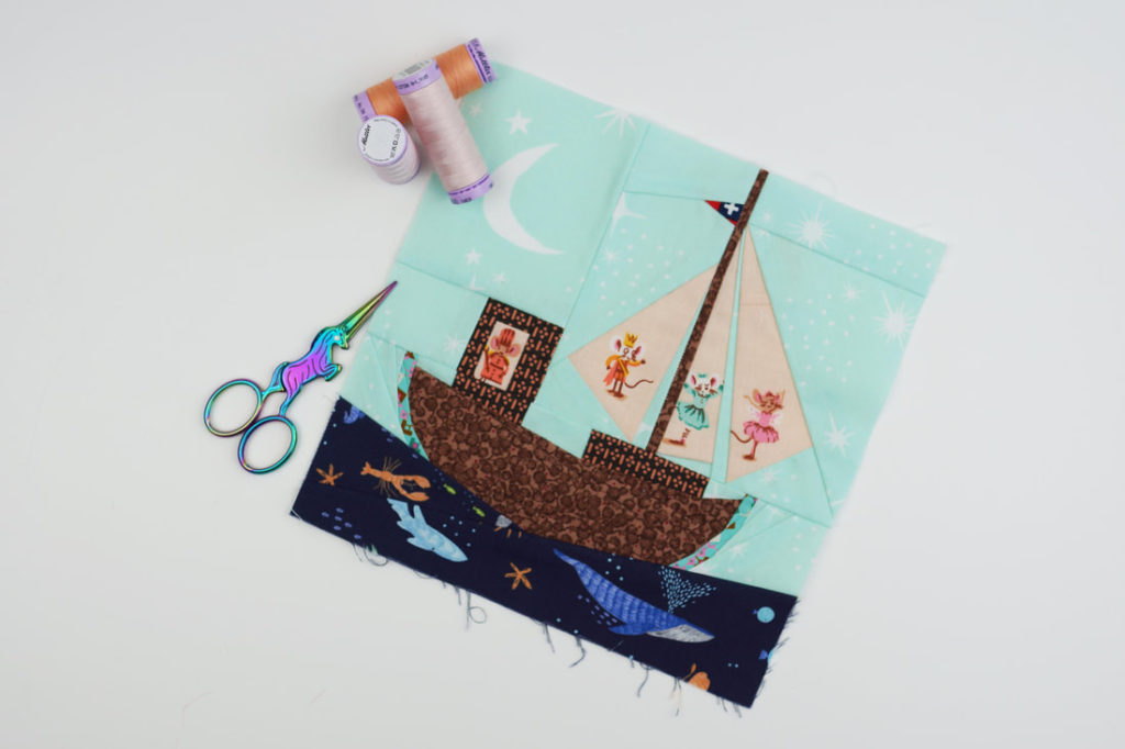 Sail boat paper pieced block