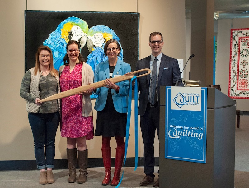 Amy with colleagues kicking off ceremony at the National Quilt Museum on National Quilting Day 2019