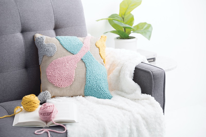 Punch needle pillow by Andie