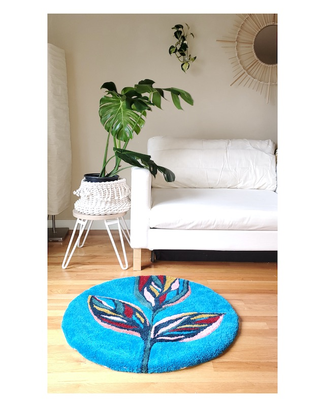 Leaf punch needle rug by Andie Solar