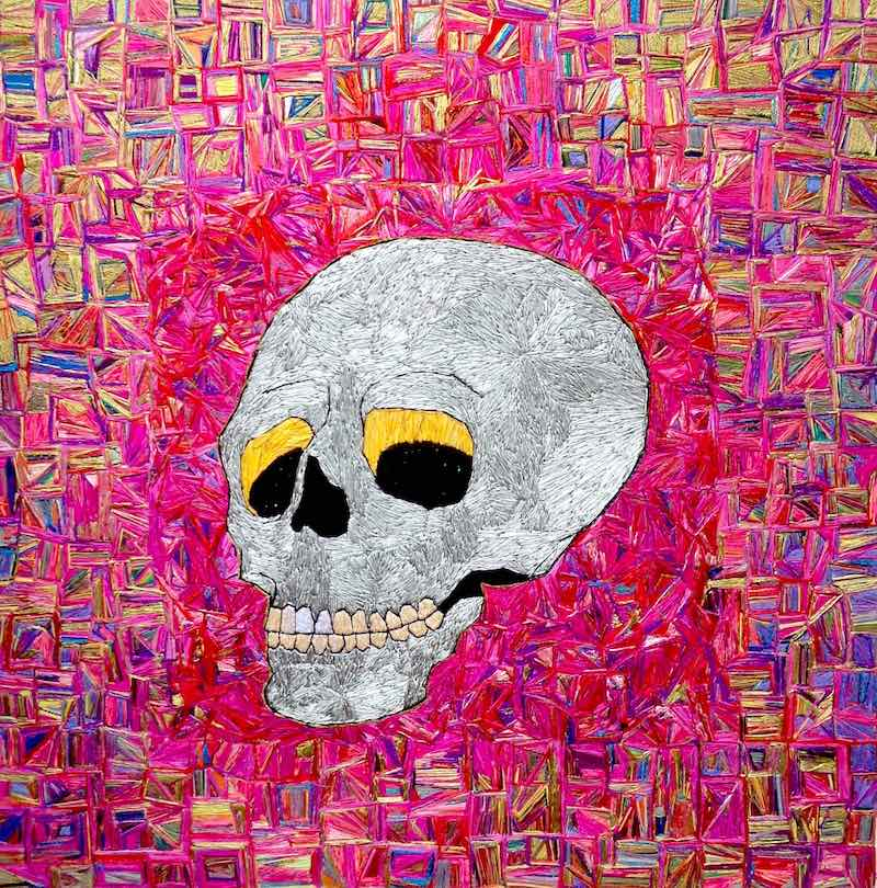 Colorful skull embroidery by Irene