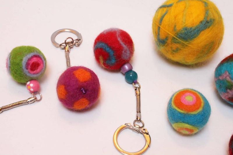 Felt balls made from bits of yarn