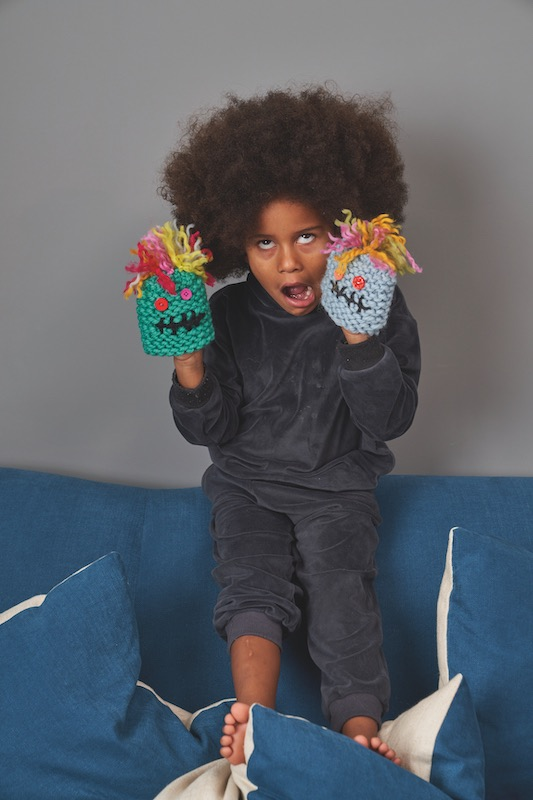 Playing with knitted monsters