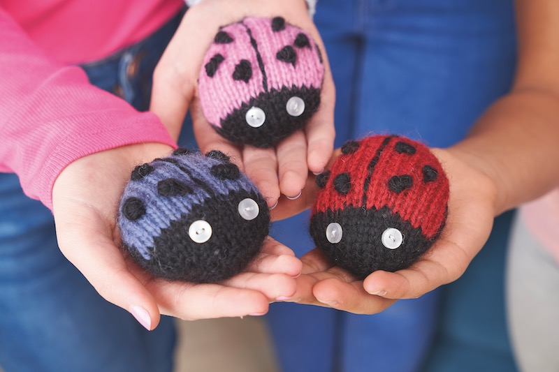 Knitted lady bugs