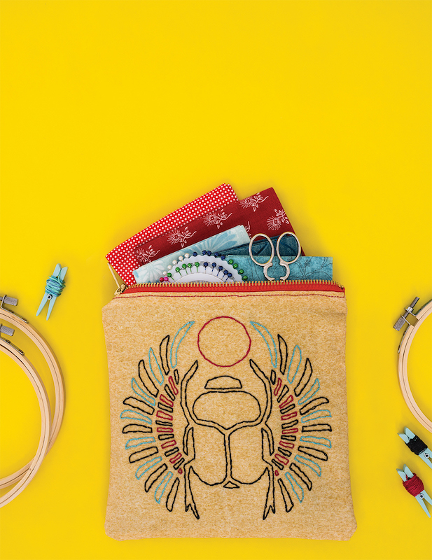 Embroidered pouch by Megan Eckman