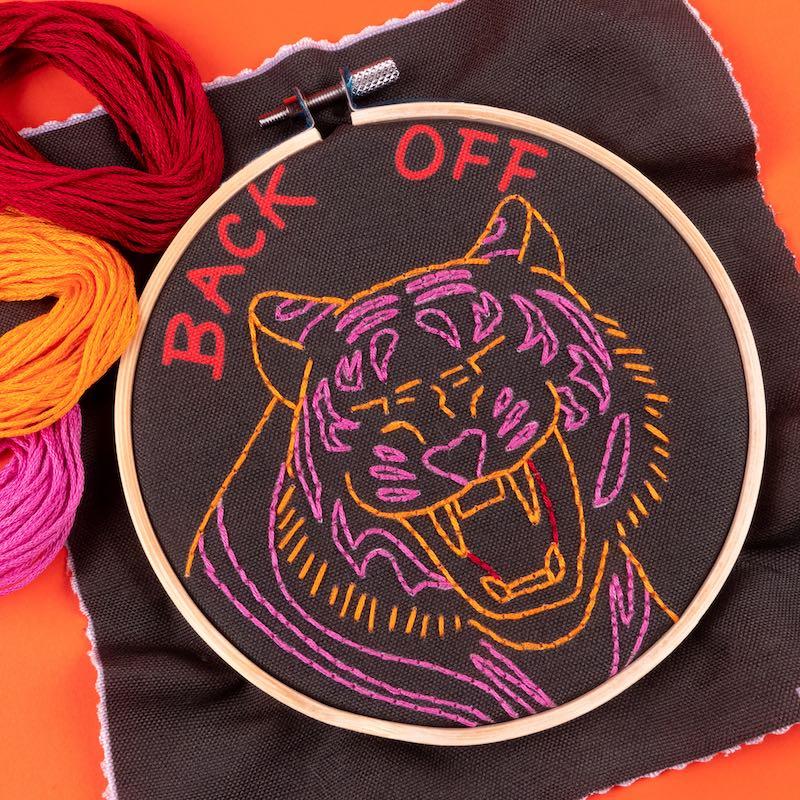 Back off embroidery hoop art by Megan Eckman