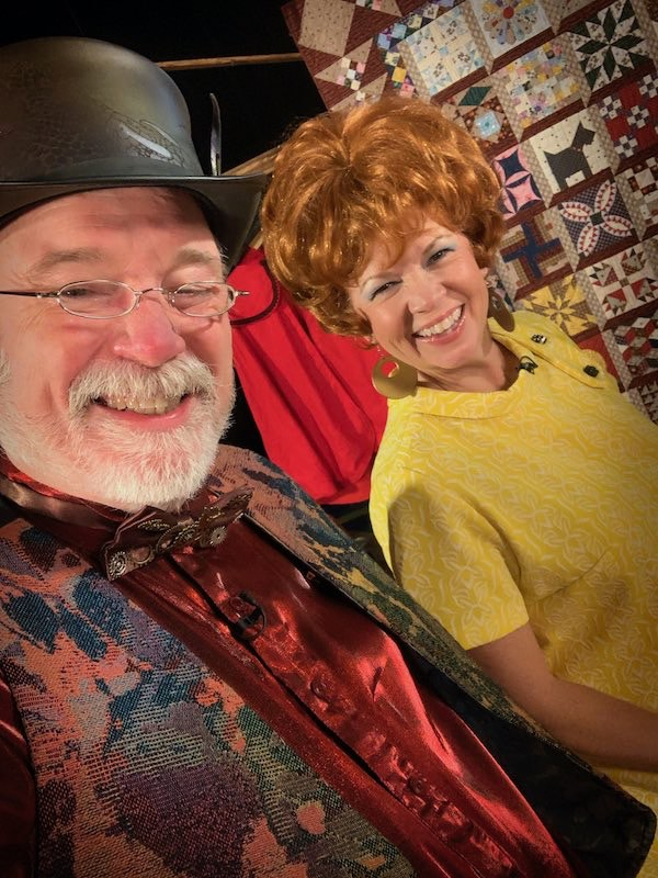 Ricky Tims and Kat Bowser on the set of The Quilt Show dressed in Lizzy attire.