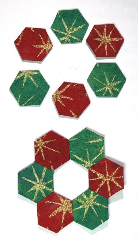 EPP Wreath Ornament Before and After Stitching