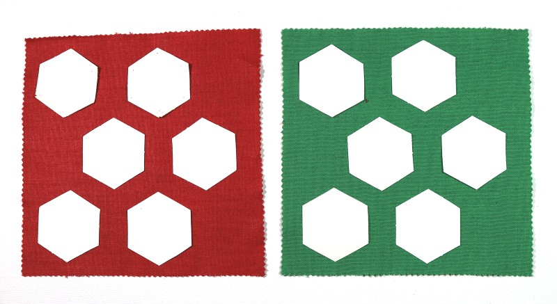 Hexies Glued Lightly to Back of Fabric