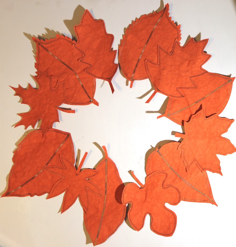 Finished Kraft-tex Leafy Tablescape arrange units as wreath or runner