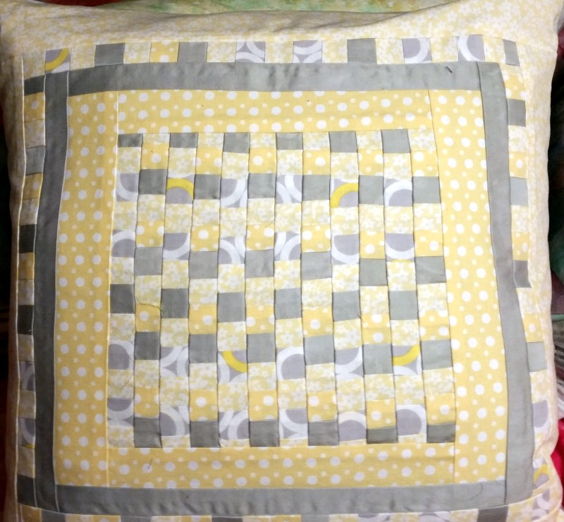 Grey and Yellow patchwork pillow