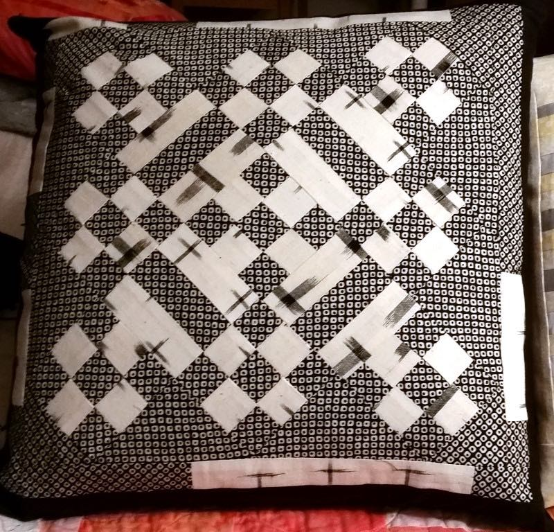 Black and White patchwork pillow 2