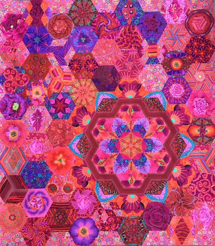 Hex-plosion pink & red quilt