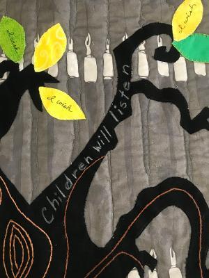 Close-up of Sondheim quilt